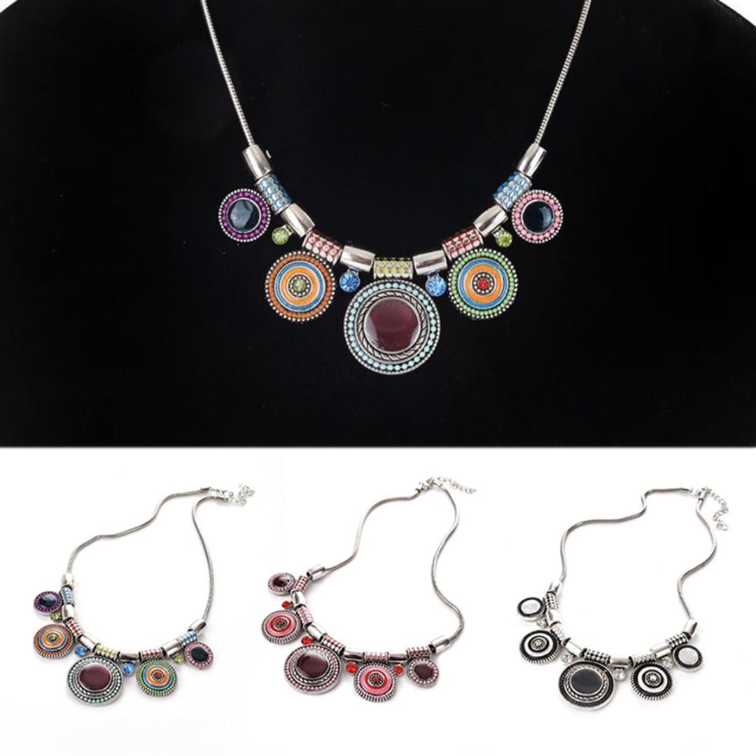 71aab374d7ef Étnico Vintage Color mezclado círculo de plata collar de cadena larga de  para las mujeres joyería de declaración Shellhard Boho accesorios de viaje  regalo