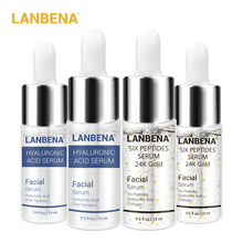 Lanbena Six Peptides Serum 24k Gold+hyaluronic Acid Anti-wrinkle Lift Firming Treatment Fine Lines Whitening 4 Pcs