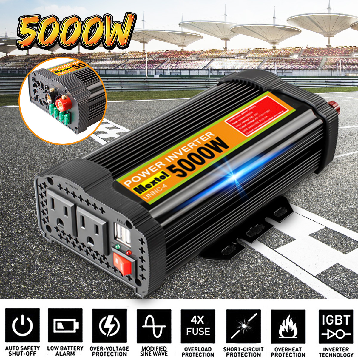 USB Inverter 12V 110V 10000W Peaks 5000W Auto Modified Sine Wave Voltage Transformer Solar Power Inverter Converter Car ChargeUSB Inverter 12V 110V 10000W Peaks 5000W Auto Modified Sine Wave Voltage Transformer Solar Power Inverter Converter Car Charge