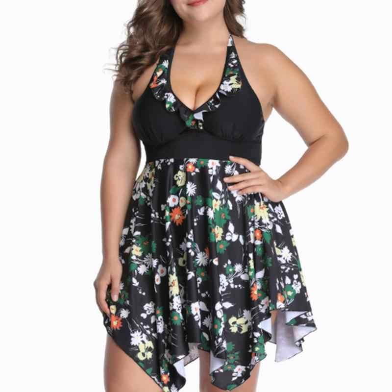dc5bc4756159 Alta Corte bañador Plus tamaño 5XL 6XL acolchado Tankini trajes de baño  estampado Floral piña traje de las señoras de las mujeres traje de baño