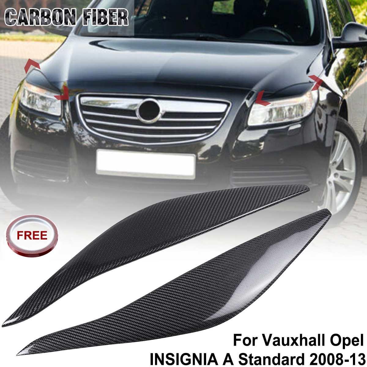2Pcs Real Carbon Fiber Headlight Eyelids Eyebrows Headlamp Eyebrow Trim For Vauxhall Opel INSIGNIA A Standard 2008-2013