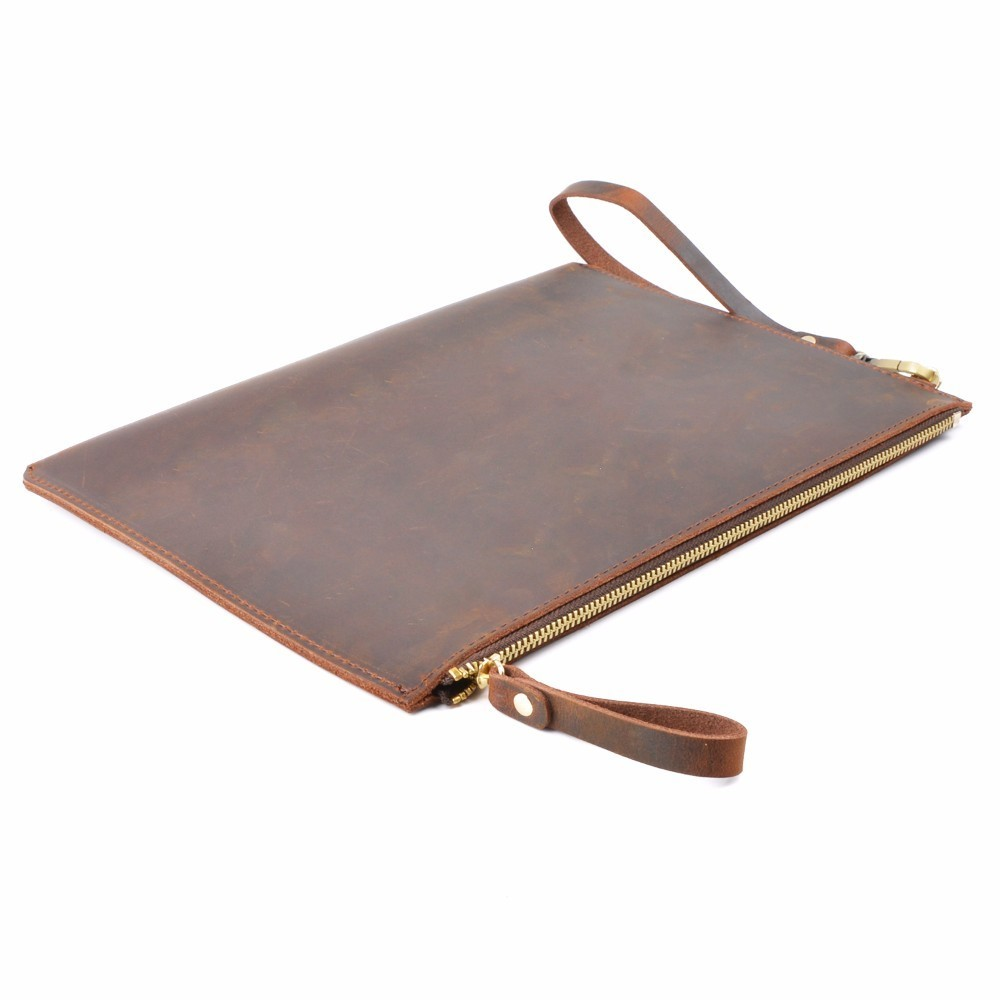 100 Genuine Leather Men File Briefcase 28x19 5 cm Crazy Horse Leather Business Retro Style Document Portfolio Filing Bag in Briefcases from Luggage Bags