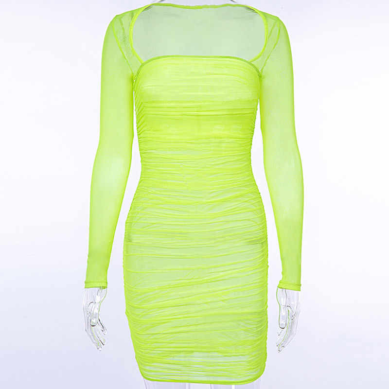 6669e4543098 ... BOOFEENAA Neon Yellow Mesh Bodycon Dress Women Square Neck Ruched Mini  Bandage Sexy Dresses Woman Party ...