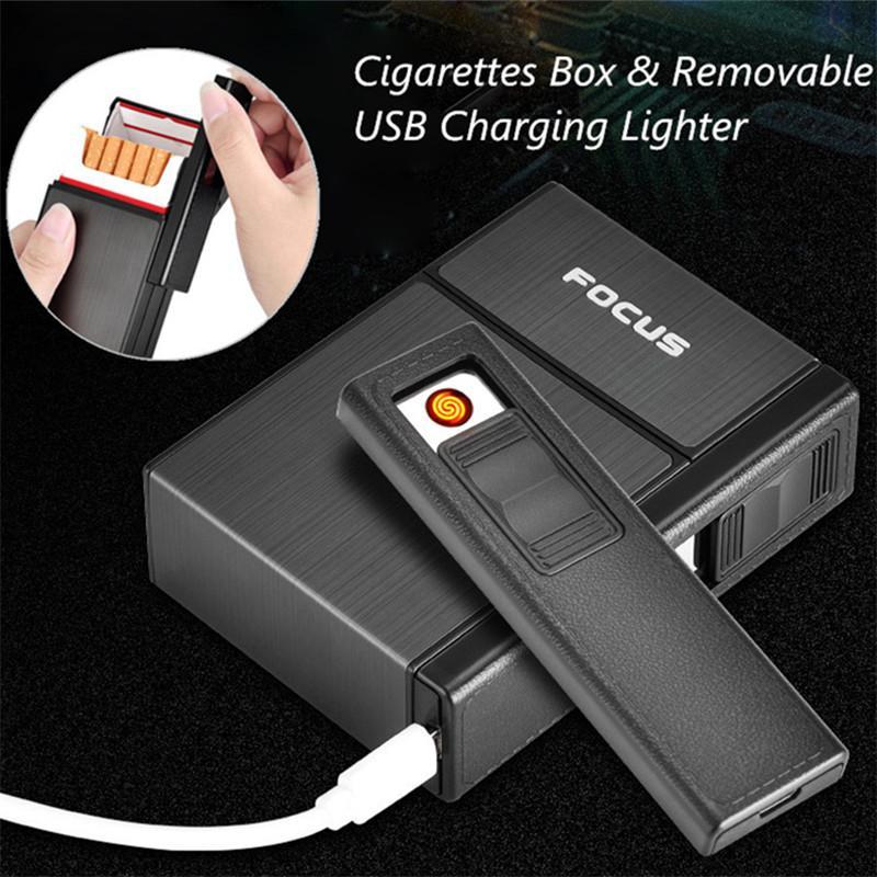Пластиковый и Алюминиевый футляр для сигарет с зажигалкой, деловой мужской съемный usb-зарядной зажигалкой, может вместить 20 сигарет
