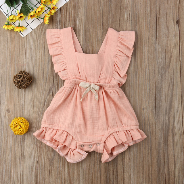 Citgeett sUMMER Newborn Baby Girls Ruffle Solid Color Bodysuit Jumpsuit Outfits Summer Casual Clothing Sunsuit 3