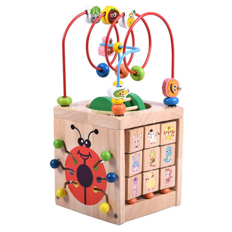 FBIL-Multi-Function 6 In 1 Wooden Math Around Bead Maze Letters Recognition Abacus Clock Learning Educational Toys For Prescho