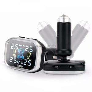 Image 4 - LCD TPMS ولاعة السجائر اللاسلكية الرقمية مراقبة ضغط الإطارات نظام 4 الخارجية الاستشعار نظام إنذار سيارة تشادويك TP720