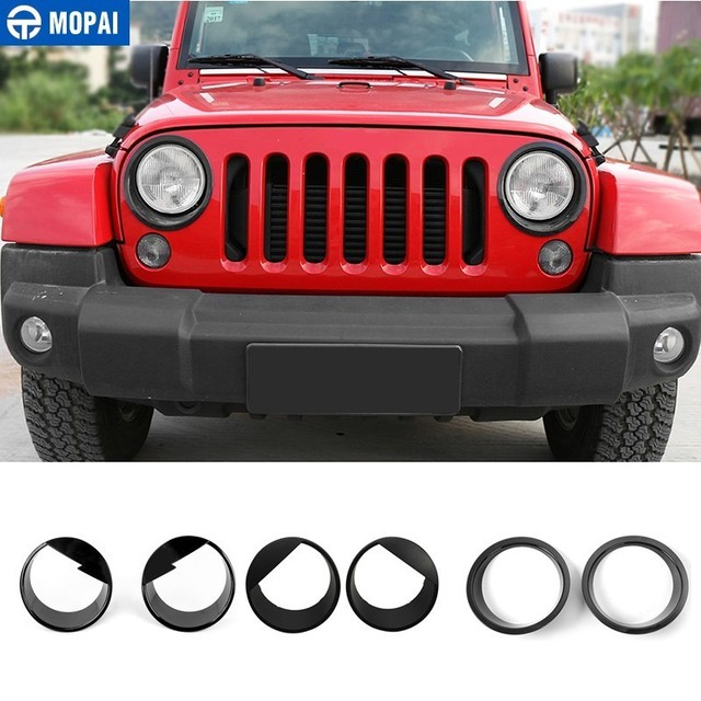 MOPAI Lamp Hoods for Jeep Wrangler JK 2007+ Car Front Headlight Lamp Decoration Cover Stickers for Jeep Wrangler Car Accessories