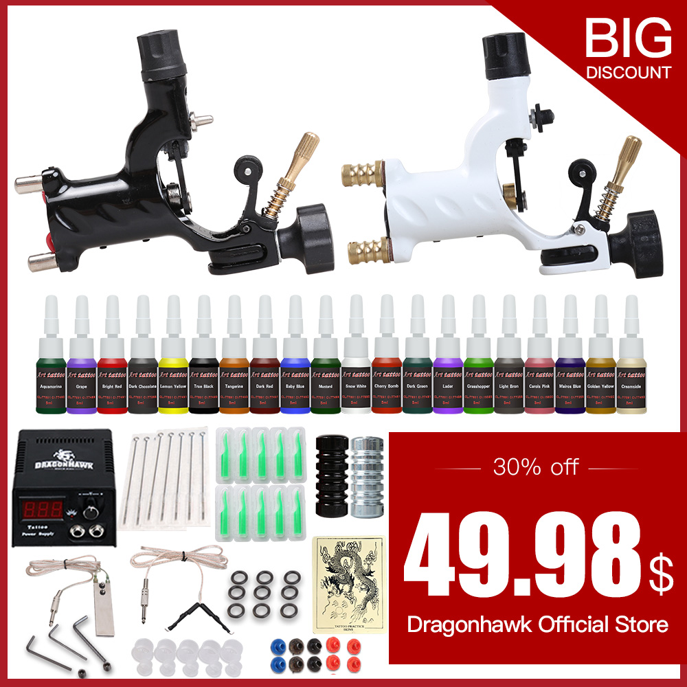 Begynder Tattoo Starter Kit 2 Rotary Tatoveringsmaskiner Guns 20 Ink Sets Power Supply Nåle Top Tatoveringsblæk Gratis Levering