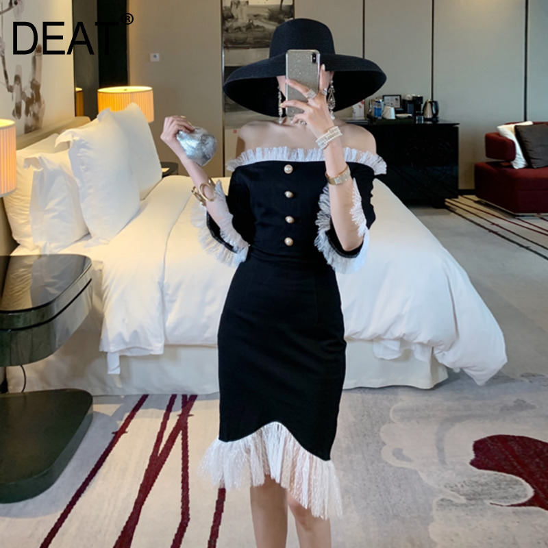 DEAT 2019 NEW spring and summer fashion women clothes slash collar ruffles single breasted tightly slim