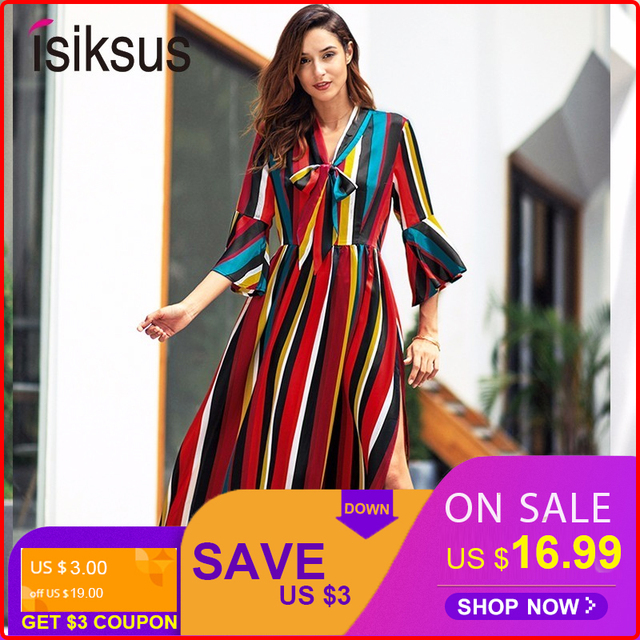 Isiksus V Neck Red Striped Maxi Dress Summer Elegant Long Lace Sexy A-Line Boho Dress Vestidos Casual Dresses For Women DR144