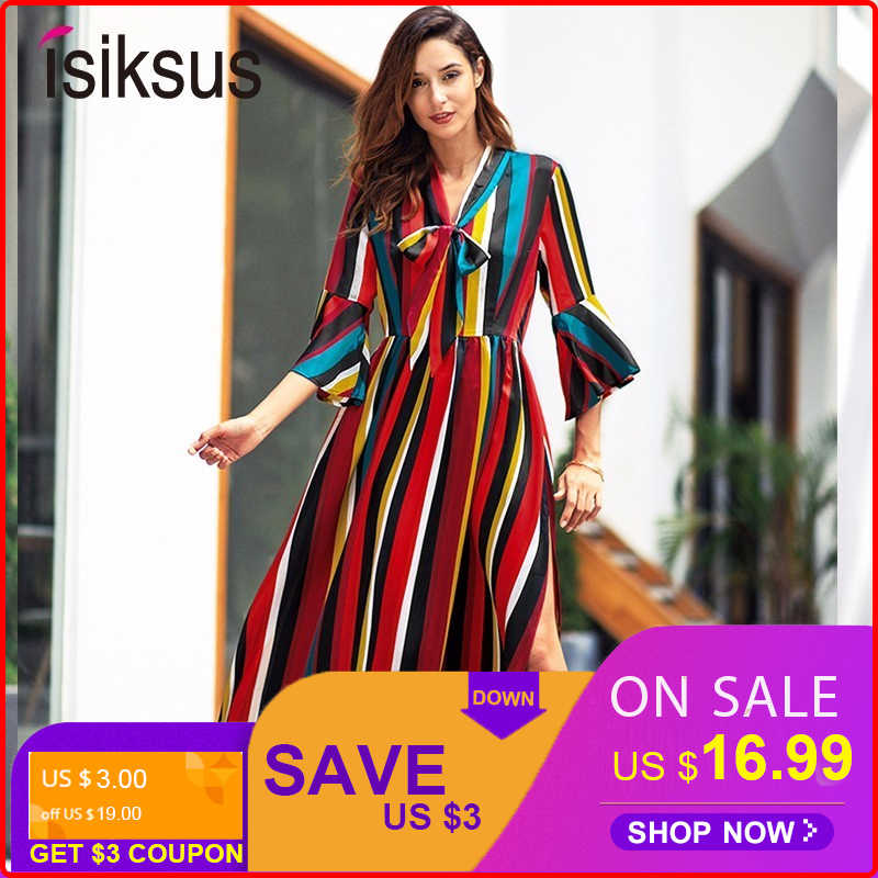 07009fc83aaa Isiksus V Neck Red Striped Maxi Dress Summer Elegant Long Lace Sexy A-Line  Boho