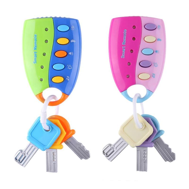 Musical Flash Car Key Toy Colorful Sounds Remote Car Voices Vocal Pretend Play Educational Toys For Baby Musical Car Key Toy New