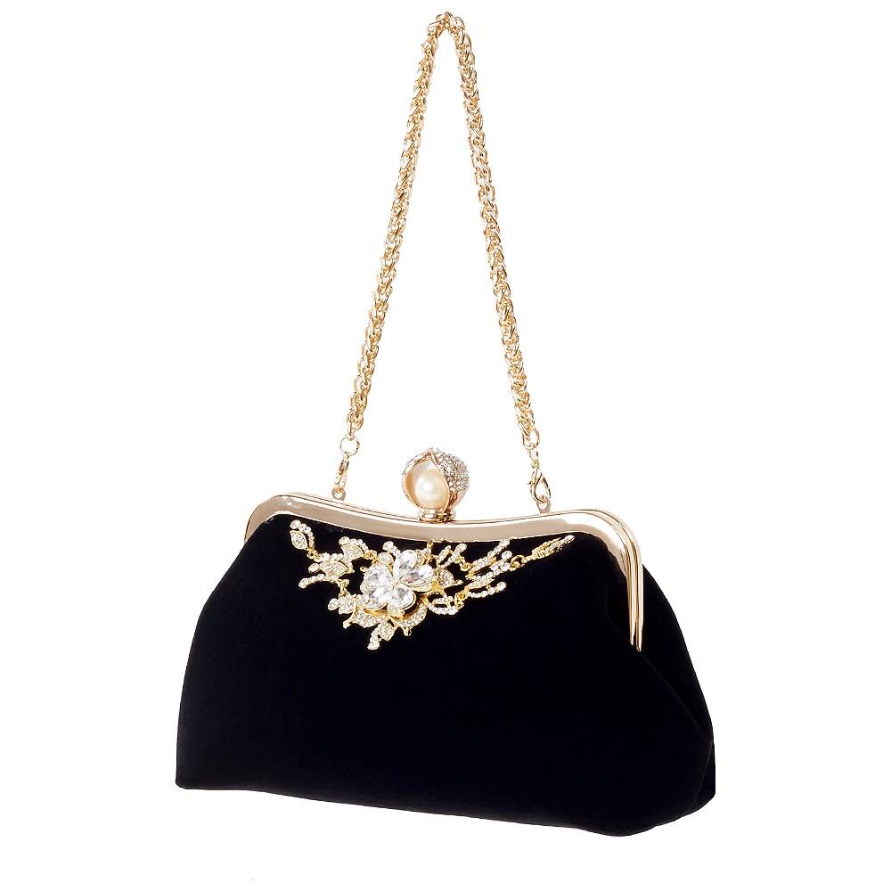 ICON Female Diamond Pearl Handbag Vintage Crystal Flower Evening Bag Wedding Party Bride Clutch Bag Purse