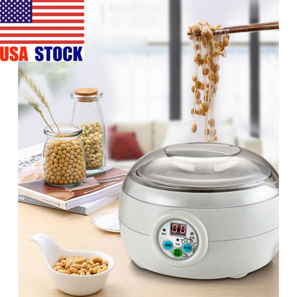 14x21cm:  1.5L 220V 15W White Electric Automatic Yoghurt Maker Rice Wine Natto Cuisine Container Yogurt Maker Kitchen Appliance 14x21cm - Martin's & Co