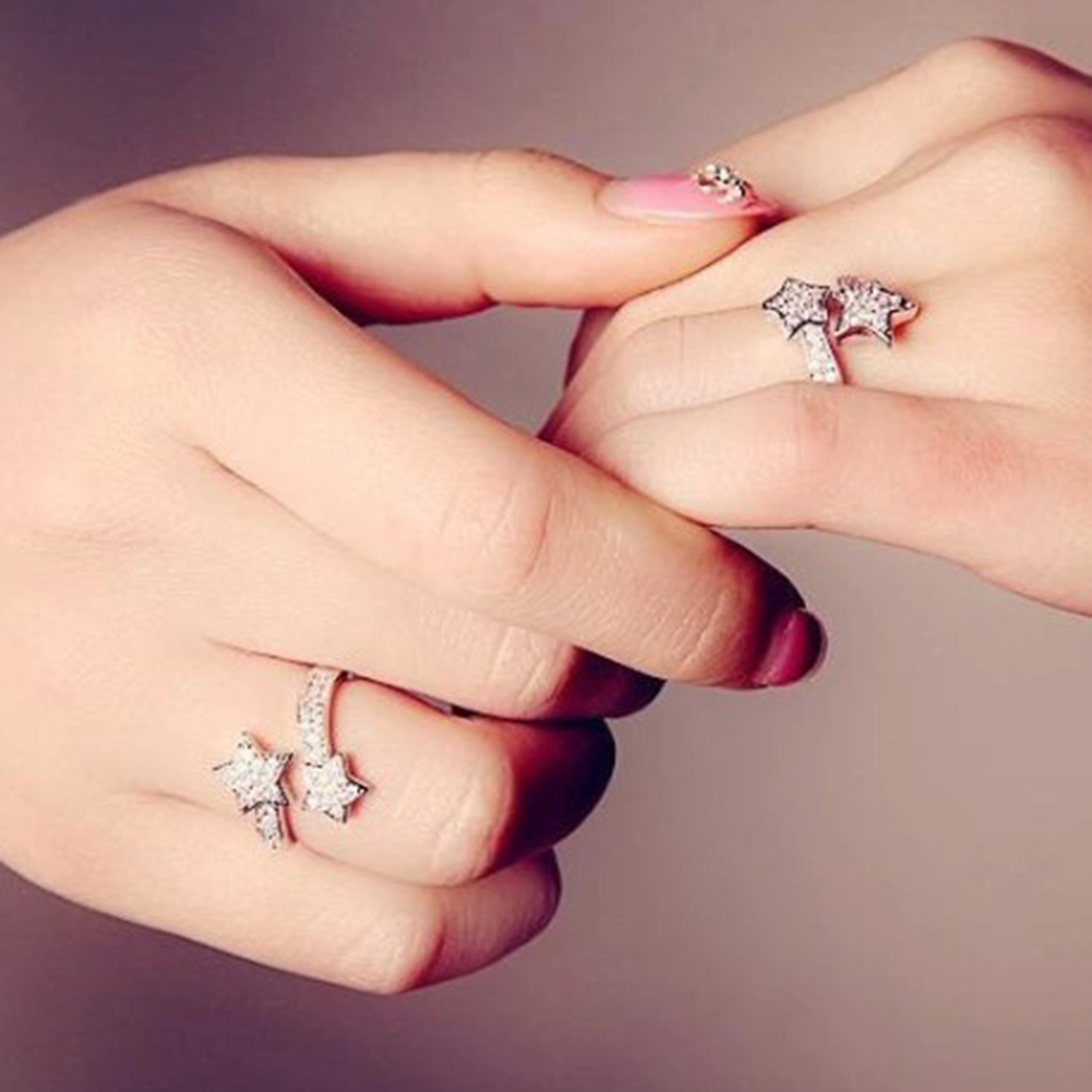 Women 39 s Adjustable Ring Pretty Shining Crystal Open Two Stars Rings Trendy Punk Ladies Fashion Metal Ring in Rings from Jewelry amp Accessories