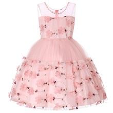 2019 Kids Tutu Birthday Princess Dress for Girls Infant Mesh Children Party Bridesmaid Elegant Dresses Ball Gown Floral Fashion