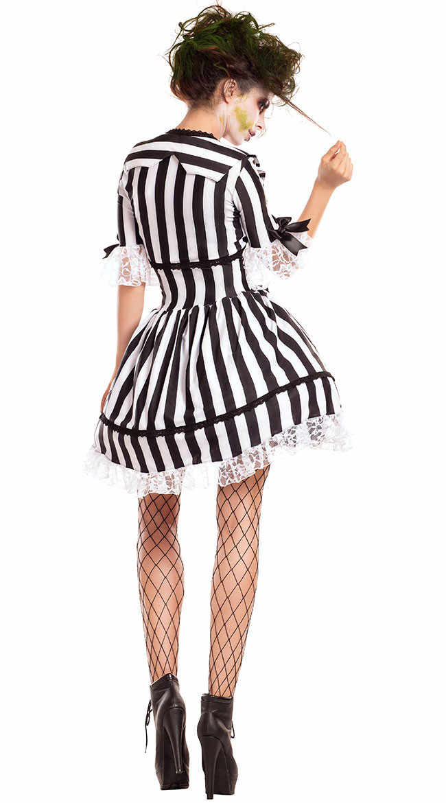 Adult Beetlejuice Costume Graveyard Ghost Black White Striped Dress Women S Halloween Costume Aliexpress