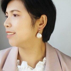 Image 1 - LiiJi уникальные серьги в форме монет в стиле барокко с жемчугом 20 21 мм для женщин Прямая поставка