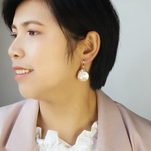 LiiJi Unique Real White/Pink Coin Shape Baroque Pearl 20 21mm Drop Earrings For Women Drop Shipping