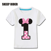 2-14 Year Number Letter Print Girls Happy Birthday T-Shirt Kids Cute Bow-tie T Shirt Little Baby Children Pure Cotton Tops недорого