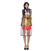 Transparent Ladies Long Raincoat WomenS Belt Waterproof Travel Windbreaker Eva