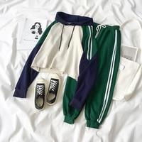Mooirue Spring Two Piece Set Pant Set Women Tracksuit Korean Round Neck Sweatshirt Loose Coat Pants Student Pant Suit Summer Set
