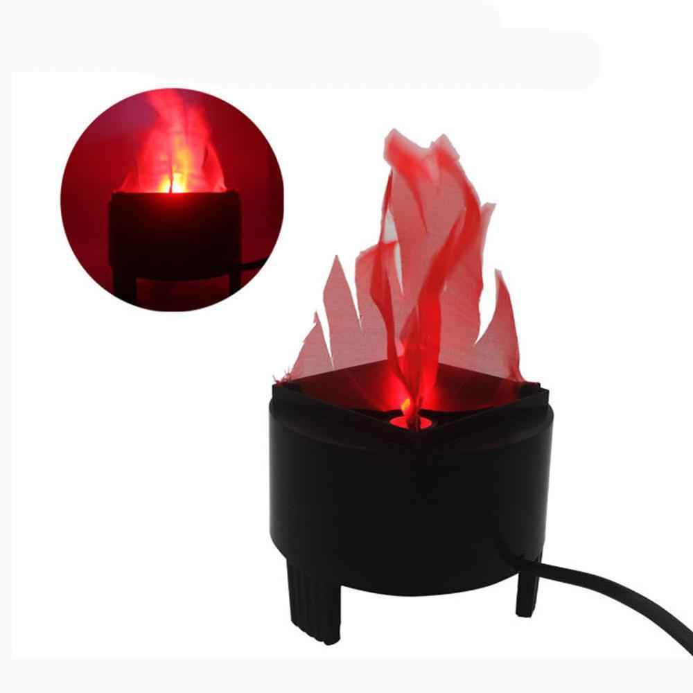 LED Fake Flame Lamp Torch Light Fire Pot Bowl Christmas Halloween Prop Party Dec