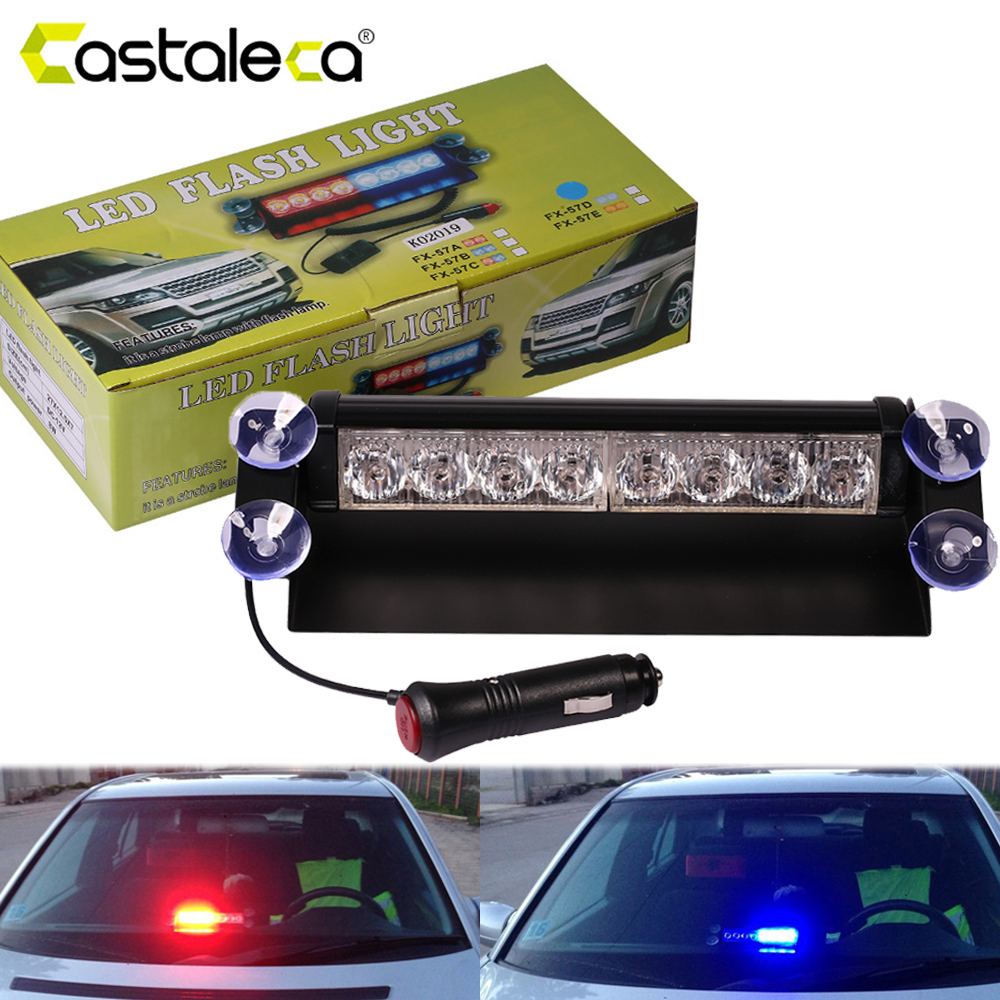 castaleca bil led nødsituation strobe flash advarselslys 12V 8 led blinkende lys rød blå hvid grøn politilys bil styling