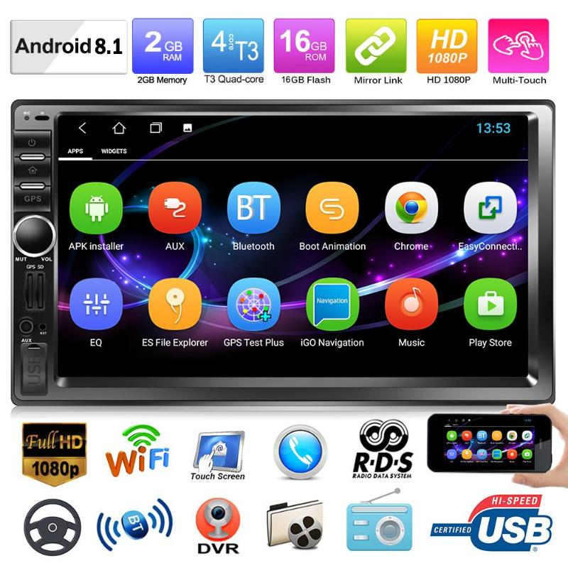 Android 8.1 Car Stereo MP5 Player GPS Navi AM FM RDS Auto Radio WiFi BT Music Audio Dual Mirrorlink 2G+16G Steer Wheel Control