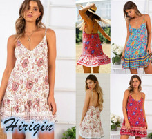 Summer Dresses 2019 New Women Casual Sleeveless Wrap Boho Floral Mini Dress Beach Party Sundress