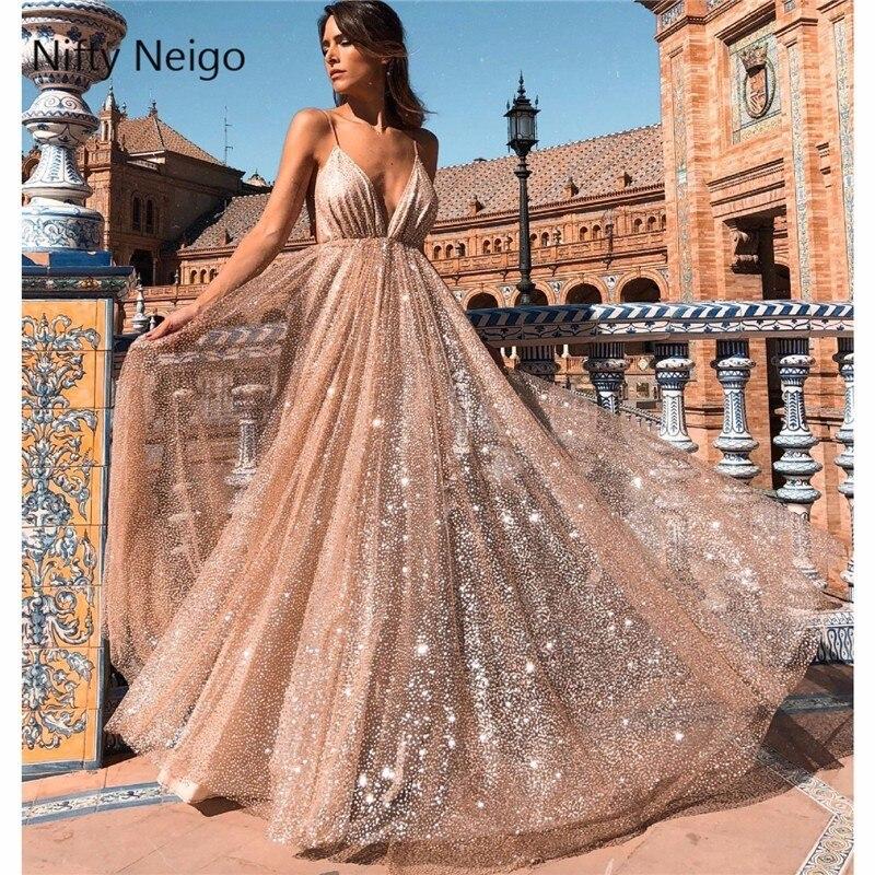 Nifty Neigo Sexy Women Glitter Maxi Dress Spaghetti Strap Deep V Neck Long Dress Summer Party Dress Vestidos