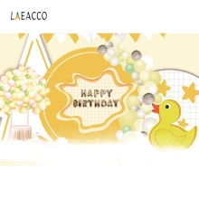 Laeacco Yellow Duck Balloons Baby Birthday Backdrop Photography Backgrounds Customized Photographic For Photo Studio