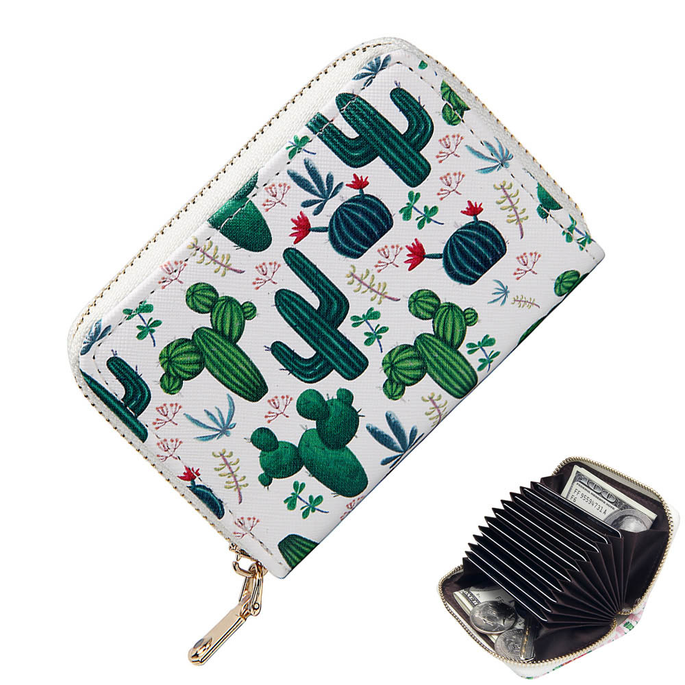 RFID Printed Short Accordion Credit Card Holder Ladies Small Cute Cactus Wallets Girl Business ID Cards Case Women Coin PurseRFID Printed Short Accordion Credit Card Holder Ladies Small Cute Cactus Wallets Girl Business ID Cards Case Women Coin Purse