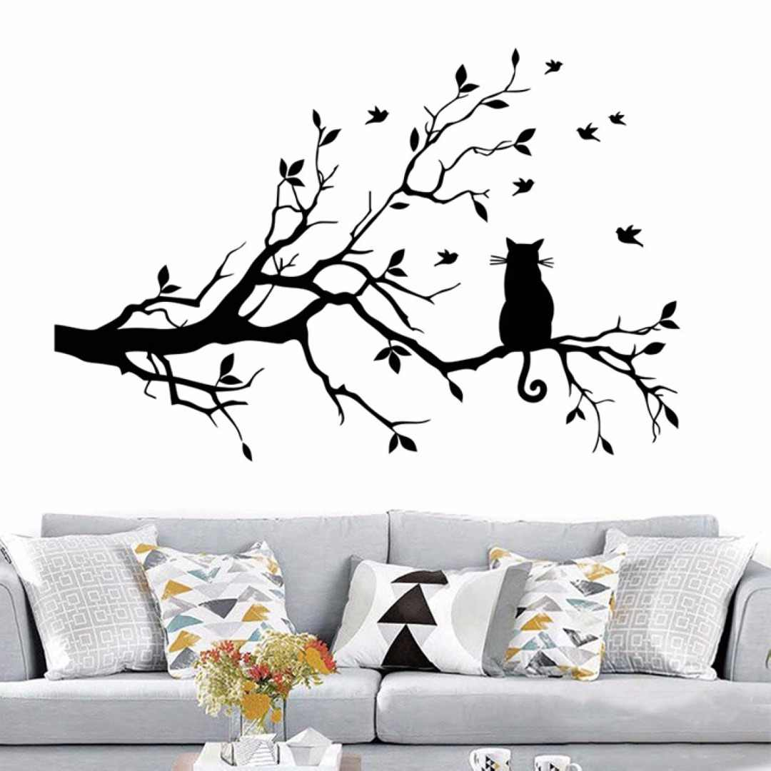 Large cat on a branch tree birds wall sticker vinyl art decal window decal stencil for