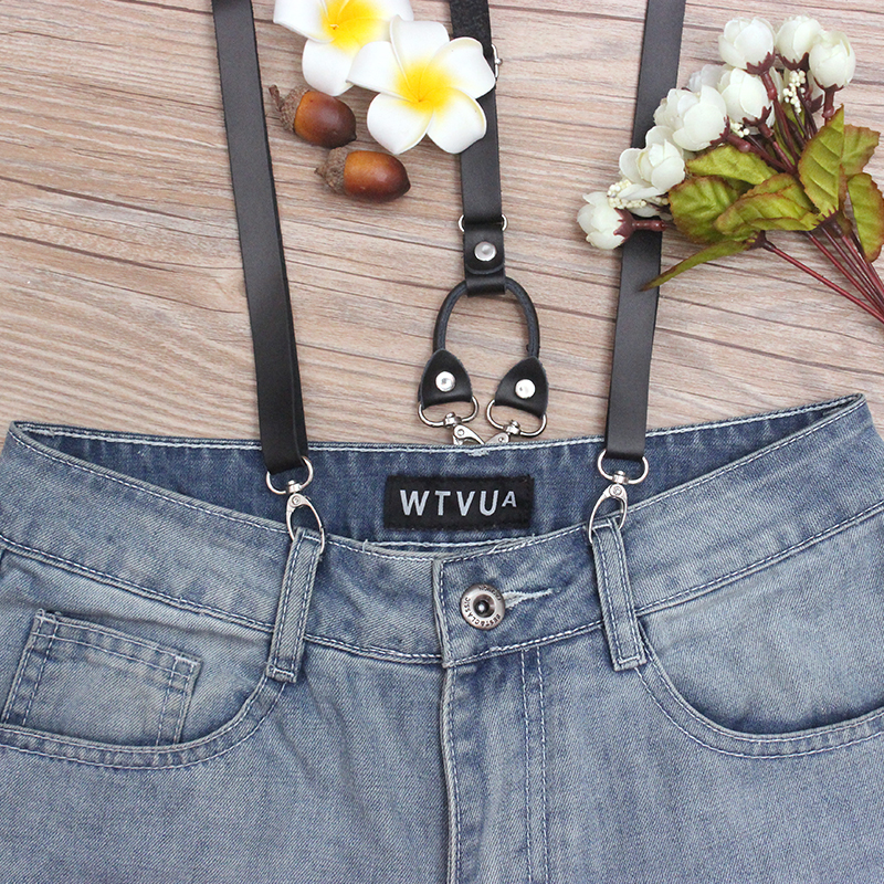 Vintage Genuine Leather  Trouser Suspenders Men 1.5cm Width 115cm Long Hook Suspenders Man For Pants Heavy Duty Braces