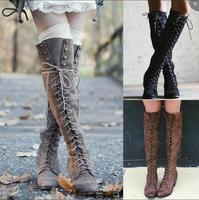 Sexy Lace Up Over Knee Boots Women Boots Flats Shoes Woman Square Heel Rubber Flock Boots Botas Winter Thigh High Boots 776