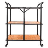 Multi function Cart Iron And Wood Foldable Storage Shelf Industrial Style Food Sundries Organizer Home Kitchen Cart With Wheel