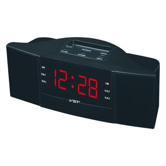 휴대용 스피커 다기능 led 시계 am/fm 디지털 라디오 스테레오 사운드 음악 프로그램 장치 선물을위한 듀얼 밴드 채널
