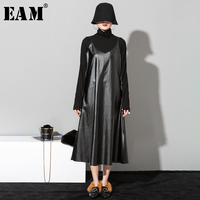 [EAM] 2019 New Hot Sale Spring Summer Strapless Black Pu Leather Loose Brief Hem Vent Dress Women Fashion Tide All match JO28