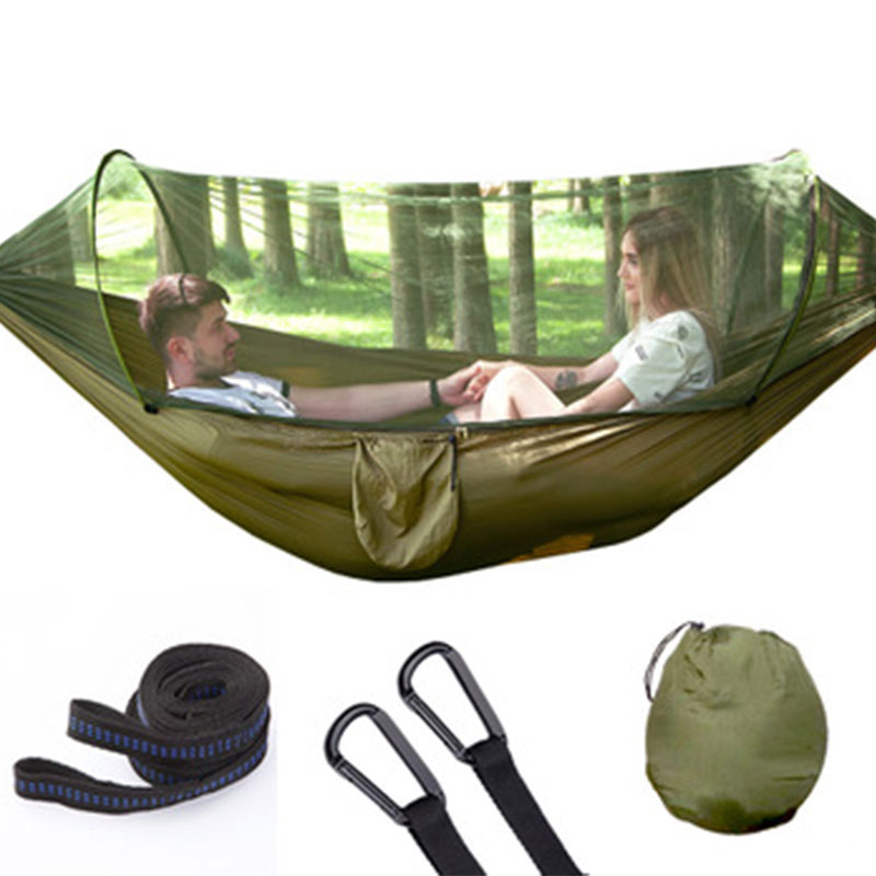 Outdoor Mosquito Net Parachute Hammock Camping Hanging Sleeping Bed Portable High Strength Sleeping Swing 290x140cm