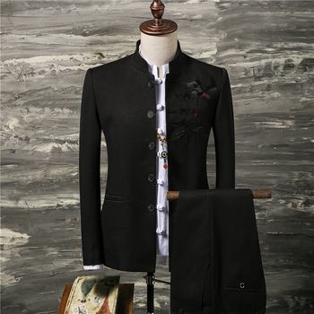 Pure Color Embroidered men Suit Jacket and Pants Chinese Retro Style Men BlazerTwo-piece set Asia size  S - 4XL Slim Fit