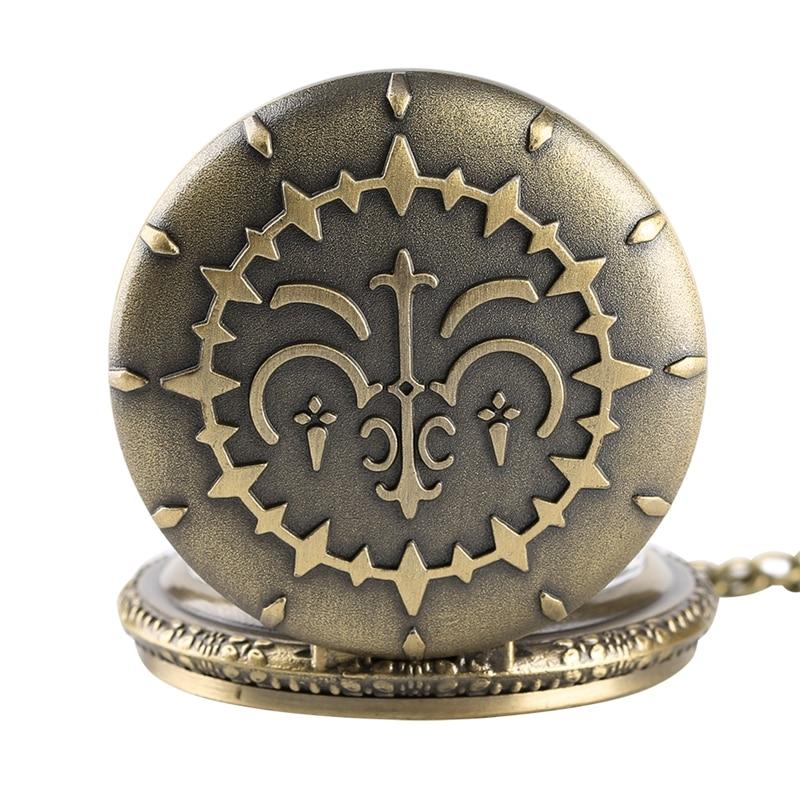 Retro Bronze Quartz Pocket Watches Necklace Pendant Men Fob Watch 2019 New Clock Gifts For Men Women Floral Rattan Pocket Watch