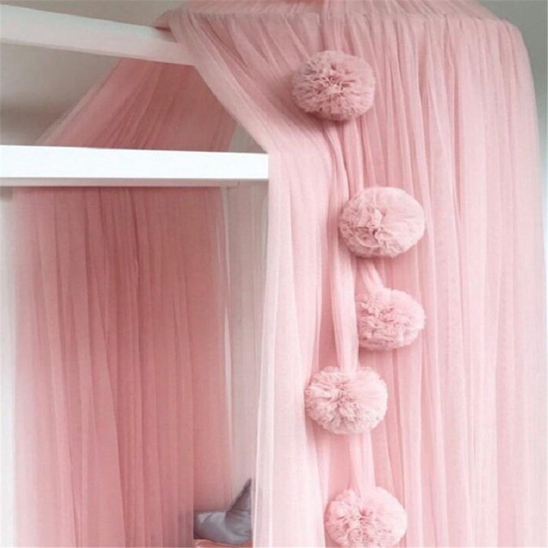 Ins Kids Room Bed Mosquito Net Chiffon Ball Hanging Tent Nets Accessories Hair Ball Wall Crib Netting Hanging Balls