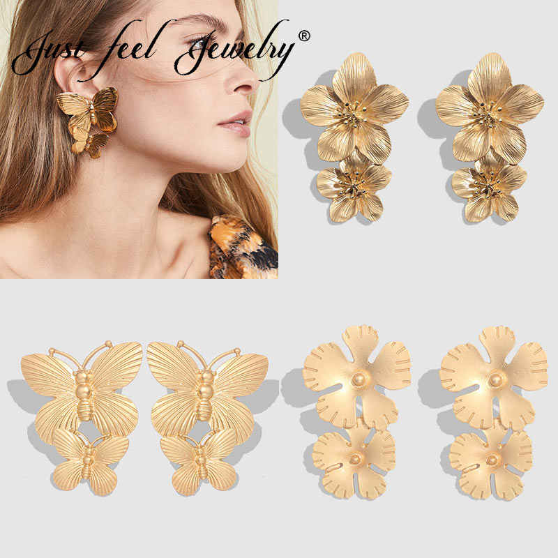 JUST FEEL 2019 New Trendy Metal Butterfly Drop Earrings for Women  Statement Gold Silver Color Shiny Vintage Earrings Jewelry