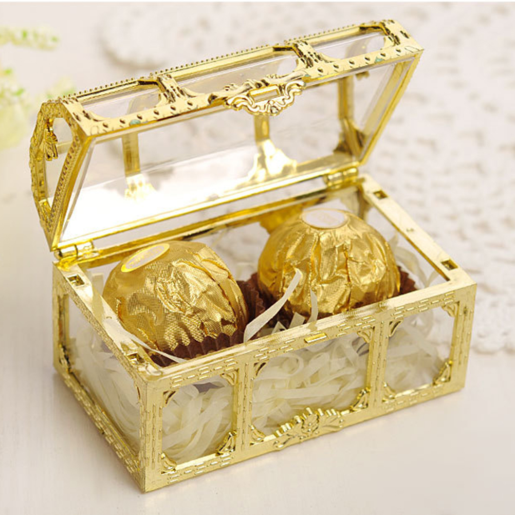 12pcs 7.4x5.2x5cm Creative Plastic Candy Box Wedding Vintage Candy Boxes Chocolate Gift Treat Boxes Wedding Party Favor