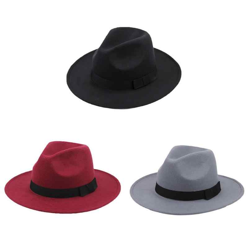 3 Colors Mafia Hat Men s Wool Felt Snap Brim Hat Trilby Women Vintage Wool  Panama Fedora 3daa06bc5cb7