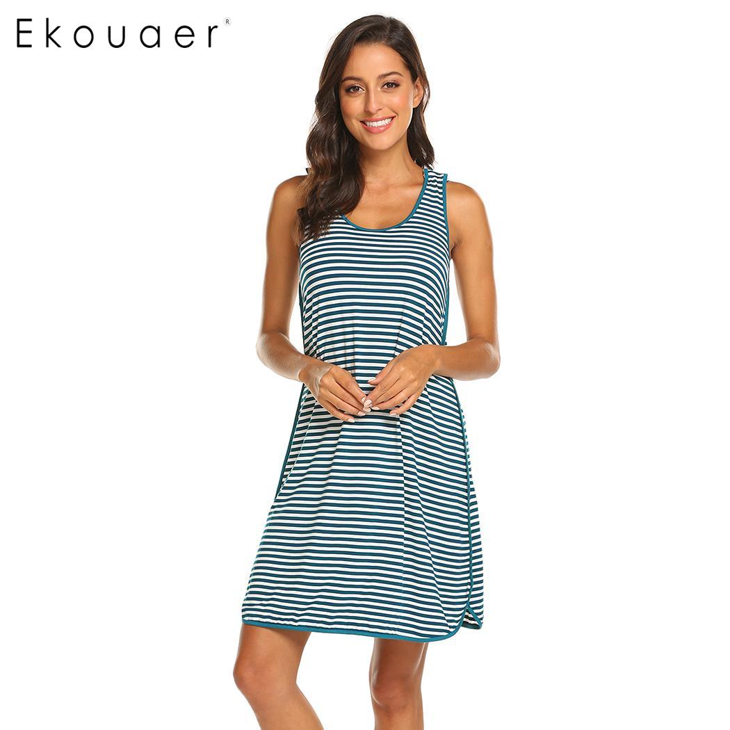 Ekouaer   Nightgown   Women   Sleepshirts   Dress O-Neck Sleeveless Striped Night Dress Pregnant Nightdress Sleepwear Clothes