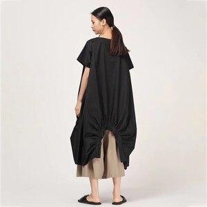 Image 3 - Женское Повседневное платье CHICEVER, однотонное свободное платье до середины икры с круглым вырезом, коротким рукавом, драпировкой и разрезом на подоле размера плюс, новинка 2020