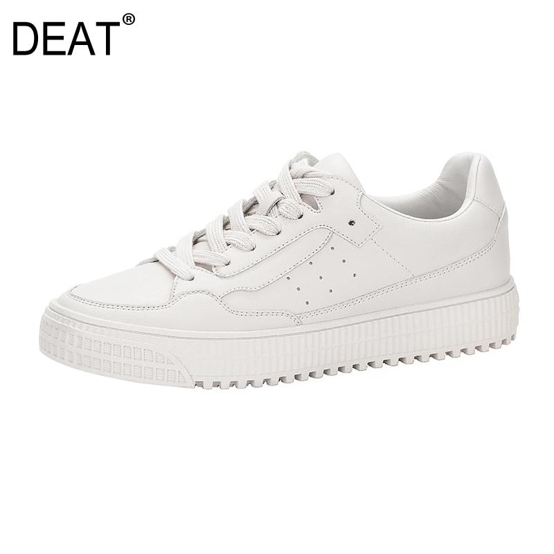 Pu deat2019 En Mode Blanc Bout Printemps Décontracté Plates D'été Rond Nouveau Simples Lacets Chaussures Femmes De À Marée Loisirs White Cuir 10sj145 rxBoeCEQdW